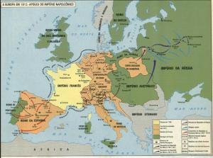 Mapa da Europa, com destaque para o Império Napoleônico e a influência do Imperador Napoleão I.